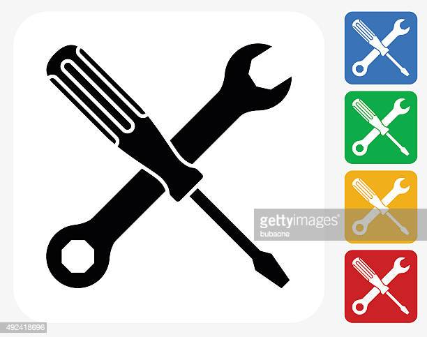 construction icon flat graphic design - wrench stock illustrations