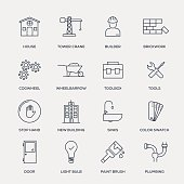 Construction Icon Set - Line Series