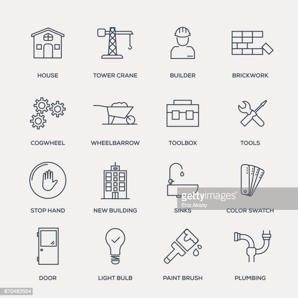 construction icon set - line series - brick stock illustrations