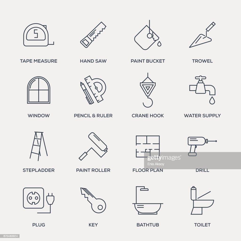Conjunto de iconos de construcción - línea serie : Ilustración de stock