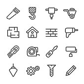 Construction Icon Set - Line Series