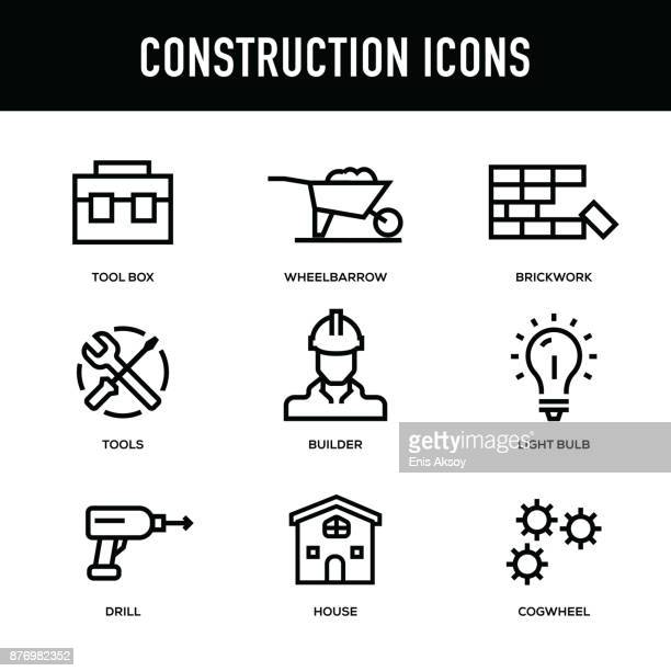 construction icon set - thick line series - thick stock illustrations