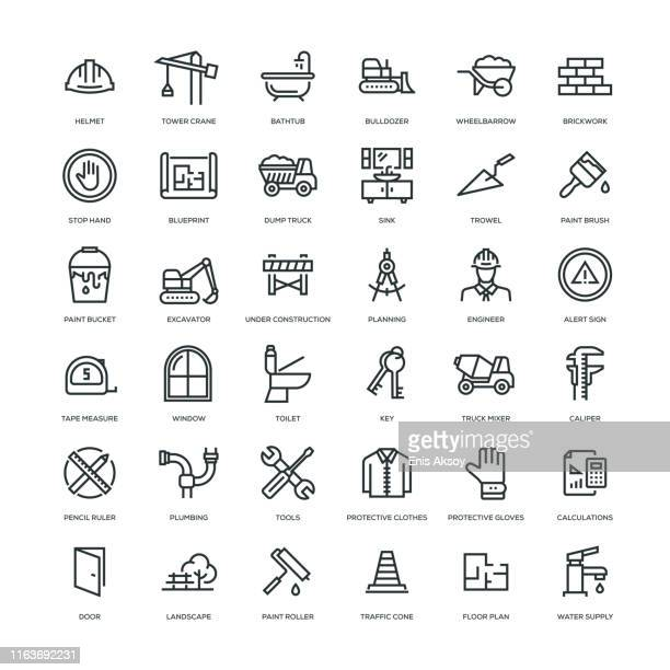 construction icon set - work tool stock illustrations