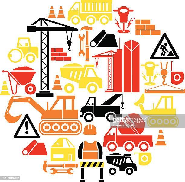 construction icon set - crane construction machinery stock illustrations