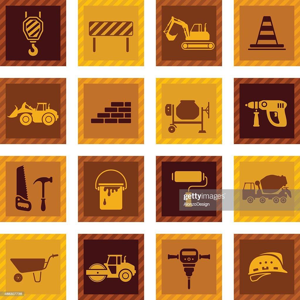 Construction Icon Set : stock illustration