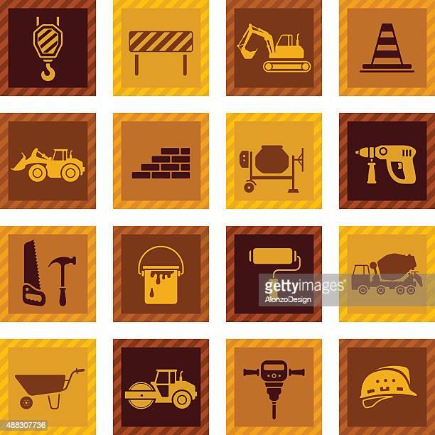 construction icon set - scoop shape stock illustrations, clip art, cartoons, & icons