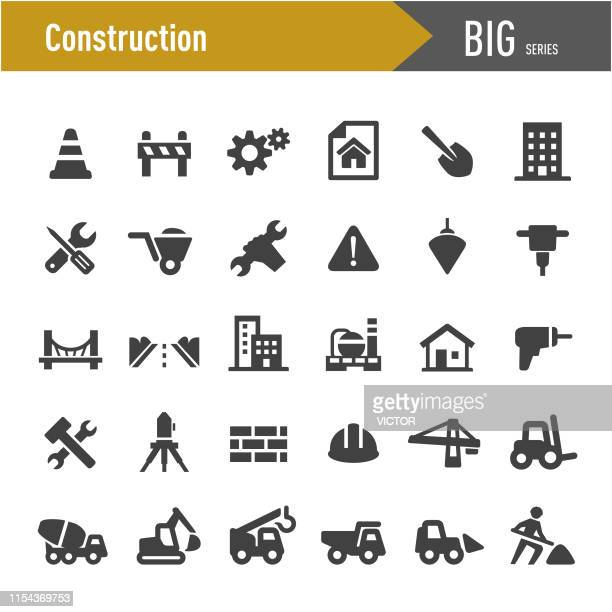 construction icons - big series - shovel stock illustrations
