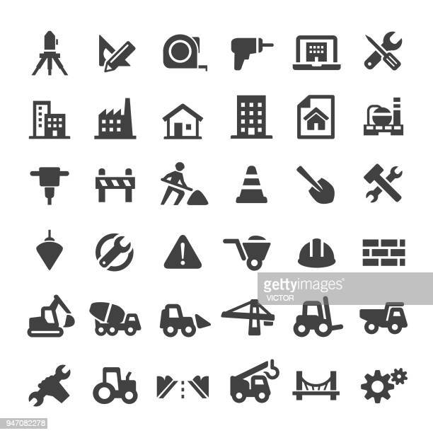 construction icons - big series - work tool stock illustrations
