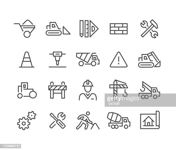 construction icons - classic line series - road marking stock illustrations