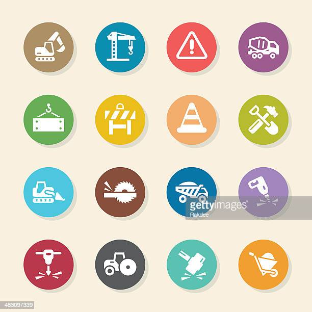 ilustraciones, imágenes clip art, dibujos animados e iconos de stock de construcción iconos-color círculo serie - scoop shape