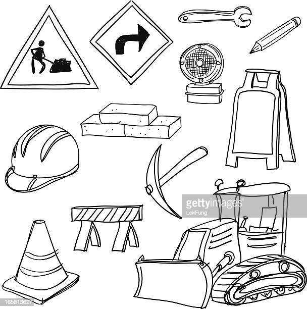 construction icons in black and white - scoop shape stock illustrations, clip art, cartoons, & icons
