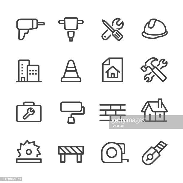 construction icons - line series - work tool stock illustrations