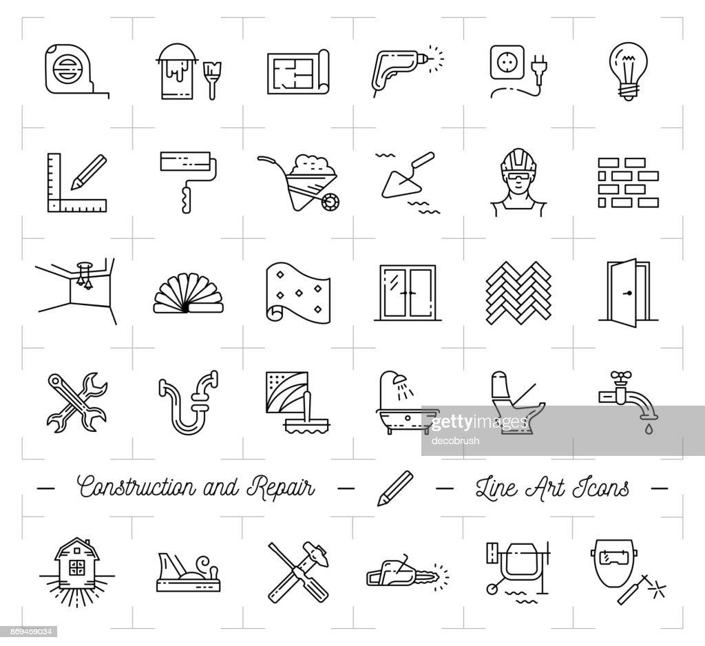 Bau-Symbole reparieren Haus Home Renovierung. Gebäude und Haushalt-Tools. Dünne Linie Kunst Symbole reparieren : Stock-Illustration