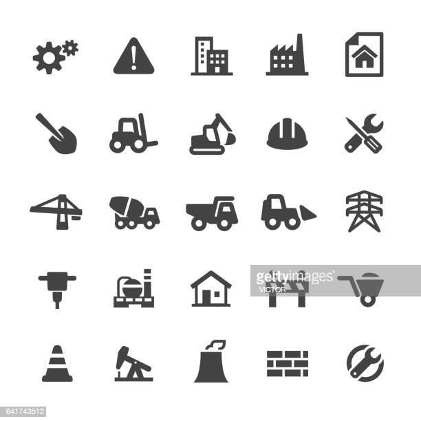 construction icons - smart series - commercial land vehicle stock illustrations