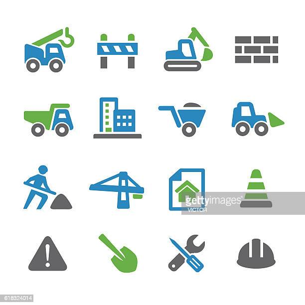 construction icons - spry series - road construction stock illustrations