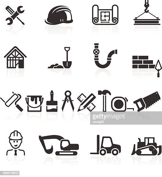 construction icons - carpenter stock illustrations