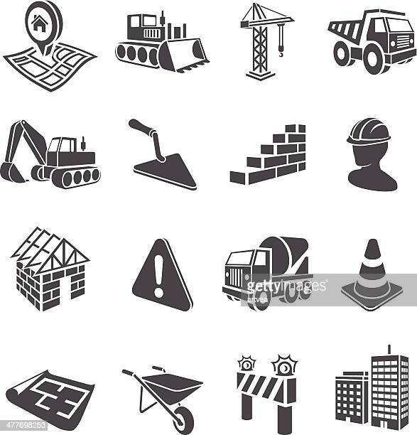 3d construction icons - brick stock illustrations