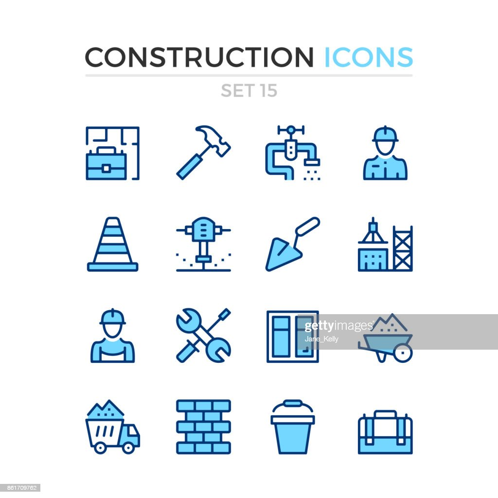 Construction icons. Vector line icons set. Premium quality. Simple thin line design. Stroke, linear style. Modern outline symbols, pictograms