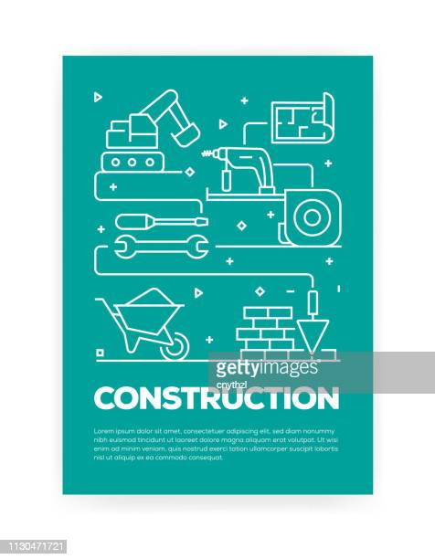 construction industry concept line style cover design for annual report, flyer, brochure. - construction material stock illustrations