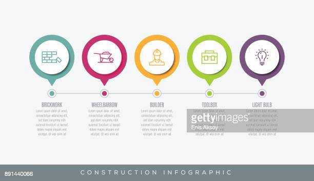 ilustraciones, imágenes clip art, dibujos animados e iconos de stock de infografía de construcción - caja de herramientas