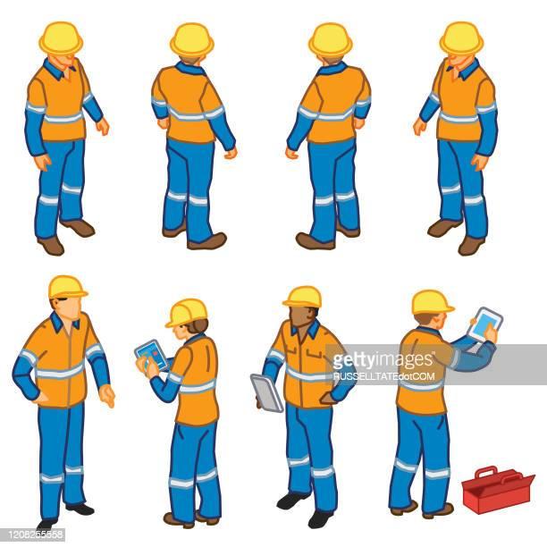 ilustraciones, imágenes clip art, dibujos animados e iconos de stock de trabajadores de inspección de la construcción (isométrico) - tableta gráfica