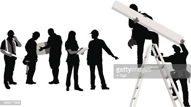 construction jobs vector silhouette - tool belt stock illustrations, clip art, cartoons, & icons