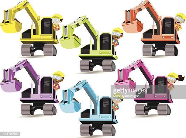 construction kids 2 - crane construction machinery stock illustrations