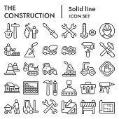 Construction line icon set. Building industry signs collection, sketches, logo illustrations, web symbols, outline style pictograms package isolated on white background. Vector graphics.
