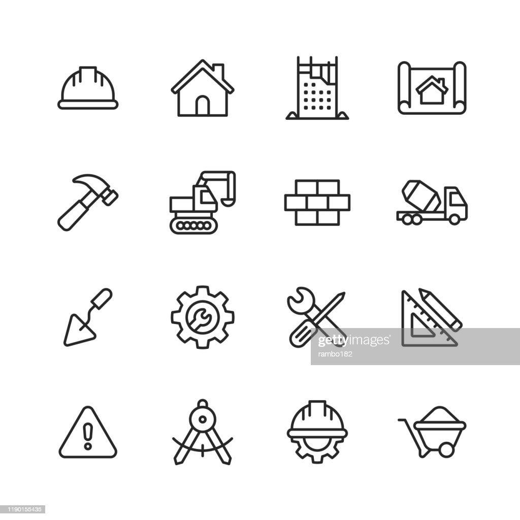 Construction Line Icons. Editable Stroke. Pixel Perfect. For Mobile and Web. Contains such icons as Construction, Repair, Renovation, Blueprint, Helmet, Hammer, Brick, Work Tools, Spatula. : stock illustration