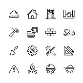 Construction Line Icons. Editable Stroke. Pixel Perfect. For Mobile and Web. Contains such icons as Construction, Repair, Renovation, Blueprint, Helmet, Hammer, Brick, Work Tools, Spatula.