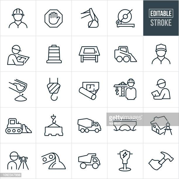 illustrations, cliparts, dessins animés et icônes de construction ligne icons - stroke modifiable - industrie du bâtiment