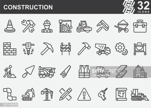 construction line icons - built structure stock illustrations