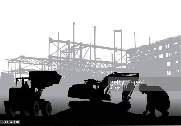 建設時間 - 掘る点のイラスト素材/クリップアート素材/マンガ素材/アイコン素材