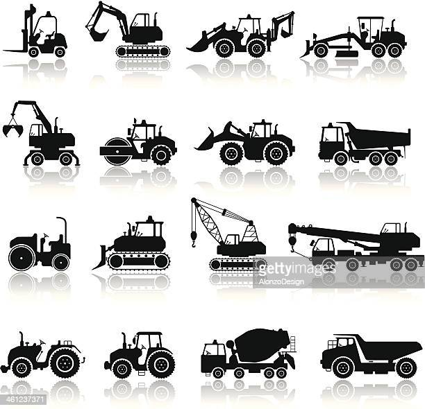 bau-maschine-icon-set - baumaschine stock-grafiken, -clipart, -cartoons und -symbole