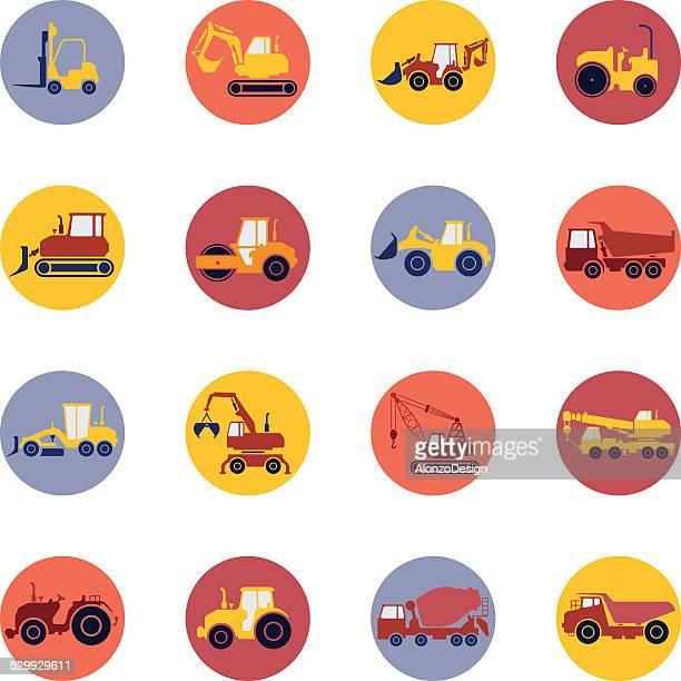 construction machine icon set - scoop shape stock illustrations, clip art, cartoons, & icons