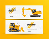 Construction Machinery Banners for Building Company Website. Vector Illustration.