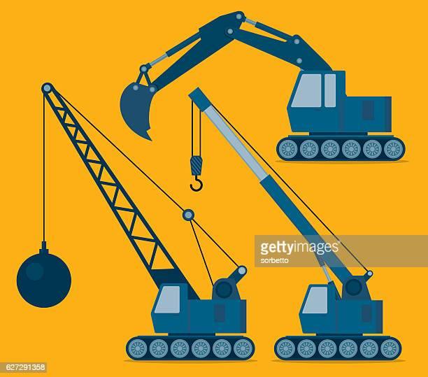 construction machinery - crane construction machinery stock illustrations