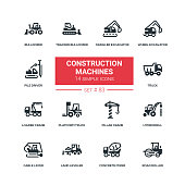 Construction machines - flat design style icons set