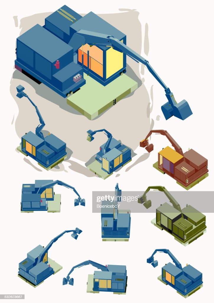 Construction Machines vector Set. crawler with several position