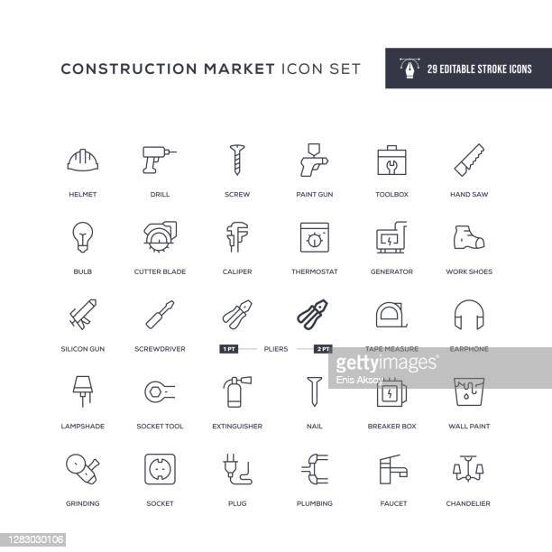 construction market editable stroke line icons - schieblehre stock-grafiken, -clipart, -cartoons und -symbole