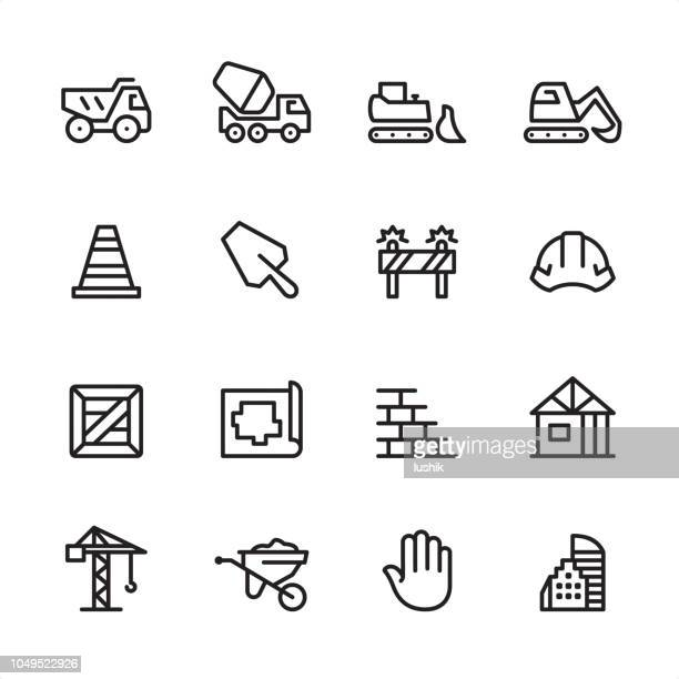 construction - outline icon set - road construction stock illustrations