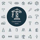 construction outline, thin, flat, digital icon set