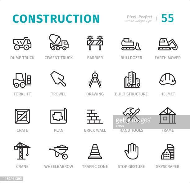 コンストラクション - キャプション付きピクセルパーフェクトラインアイコン - 掘る点のイラスト素材/クリップアート素材/マンガ素材/アイコン素材