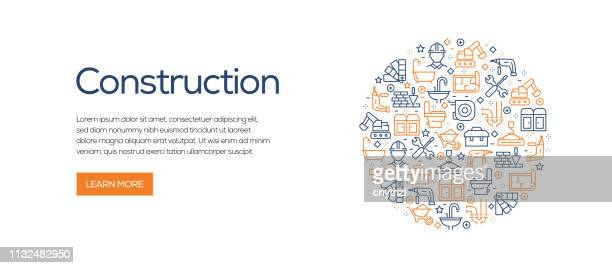 construction related banner template with line icons. modern vector illustration for advertisement, header, website. - building contractor stock illustrations