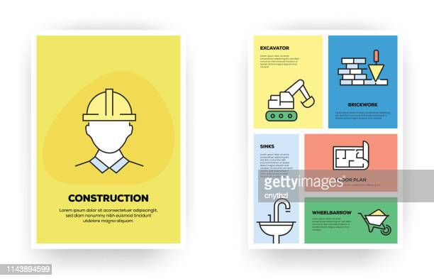 construction related infographic - building contractor stock illustrations
