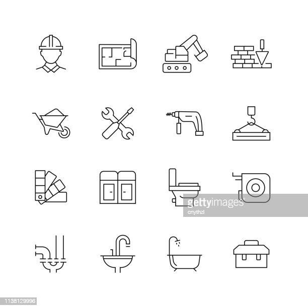 Construction Related - Set of Thin Line Vector Icons