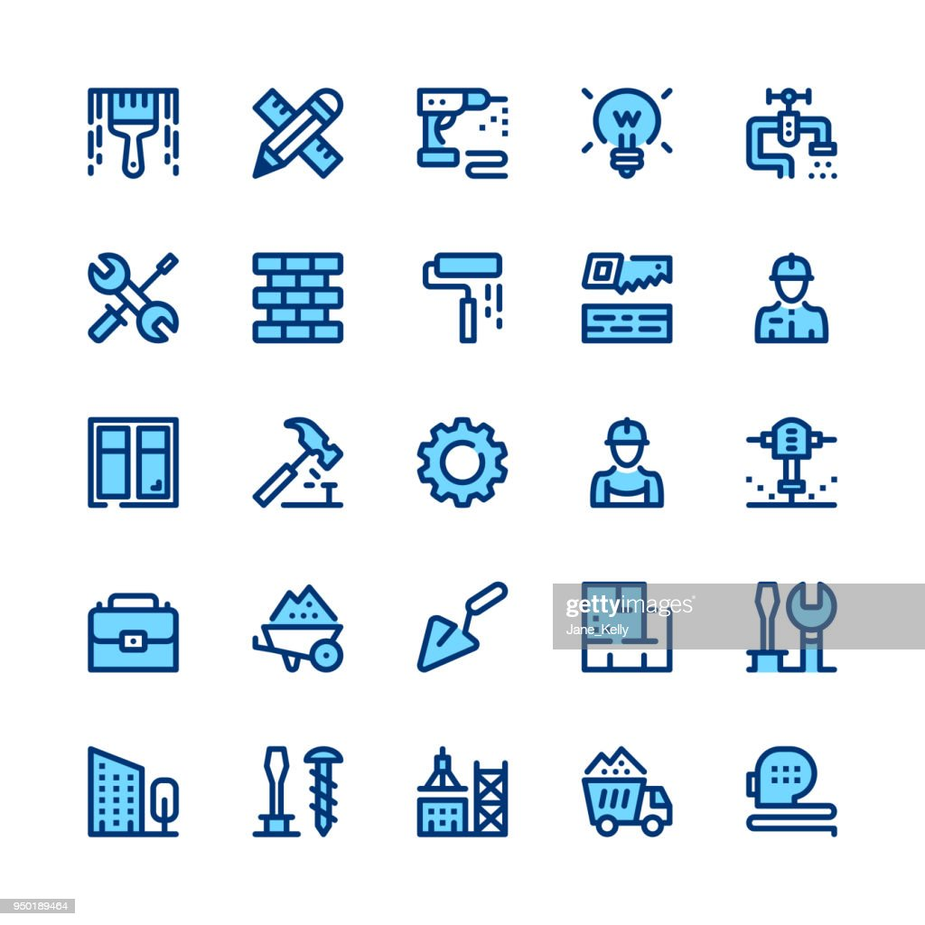 Construction, repair tools line icons set. Modern graphic design concepts, simple symbols, linear stroke web elements, pictograms collection. Minimal thin line design. Premium quality. Pixel perfect. Vector outline icons