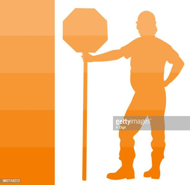 construction safety priority - road construction stock illustrations