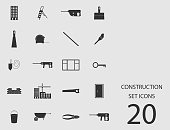 Construction set of flat icons. Vector illustration