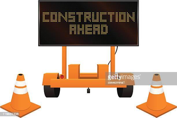 construction signs - road construction stock illustrations